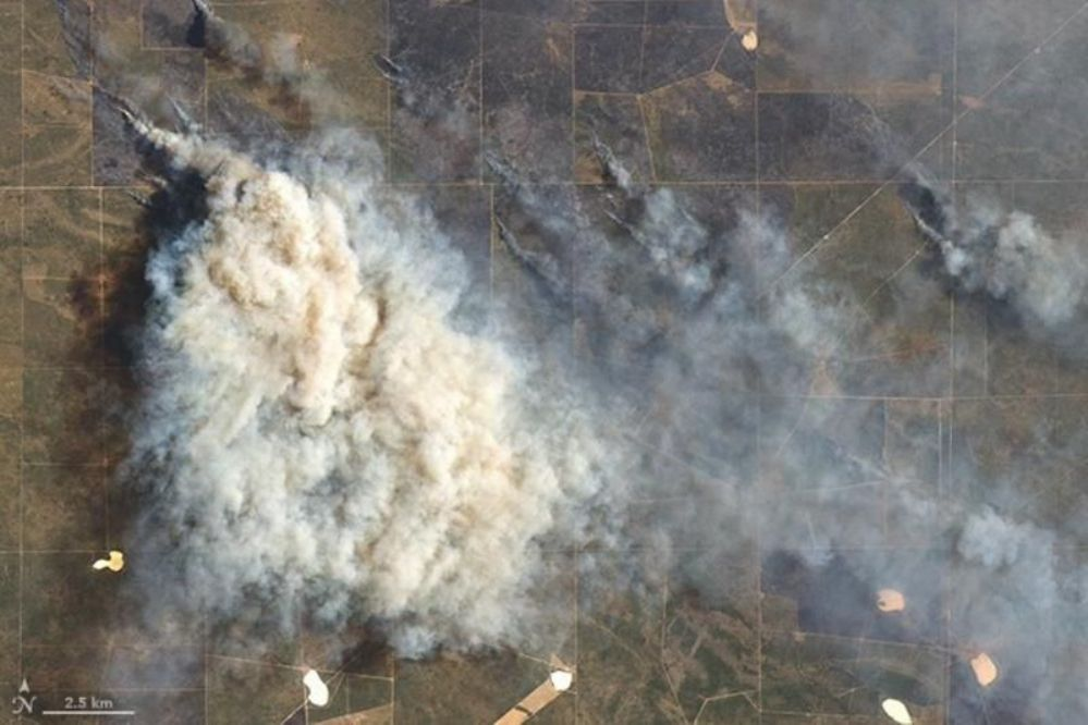 LA PAMPA EN LLAMAS: Fotos de la Nasa de los incendios en ruta 10 y ruta de la Cría